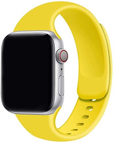VIKATech Correa de Repuesto Compatible con Apple Watch Correa 44mm 42mm 40mm 38mm, Correa de Silicona Suave de Repuesto para iWatch Series 6/5/4/3/2/1 SE (38mm/40mm S/M, Yellow)