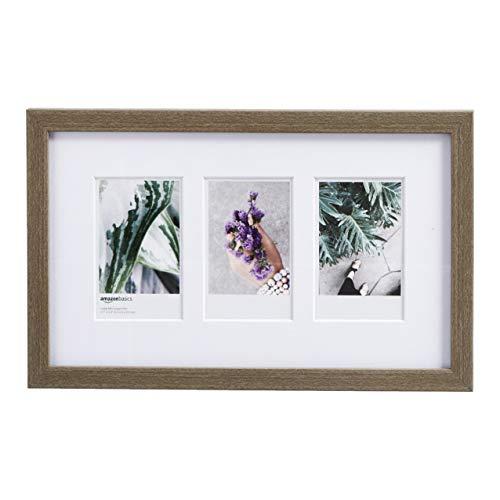 AmazonBasics - Marco de fotos de Instax, 3 huecos, 8 x 5 cm, efecto madera rústica