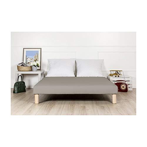 By sommiflex Sommier tapissier 140x190cm Gris Fabrique en France avec Pieds