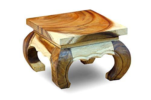 Kinaree Opiumtisch Natur - 30x30cm Holz Beistelltisch aus massiver Akazie geeignet als Nachttisch oder Blumenhocker