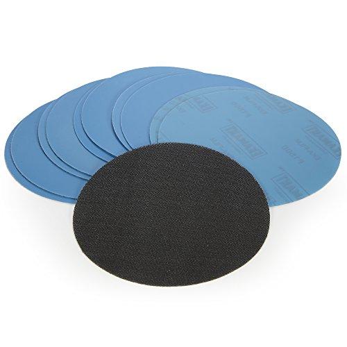 16 Stück Schleifscheiben 150 mm Klett im Set Korn 60-400 + Klettauflage