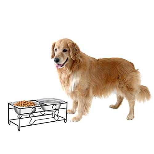 """PETMAKER Stainless Steel Raised Food & Water Bowls with Decorative 6.5"""" Tall Stand for Dogs & Cats-2 Bowls, 40oz Each-Elevated Feeding Station"""