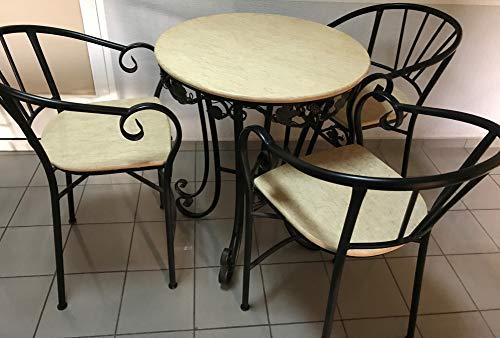 Conjunto Bar 1. Conjunto de Mesa Alta con Top de mármol Beige y 4 sillas a Juego. Decoración de forja. Muy Decorativo. para Interiores o terrazas.