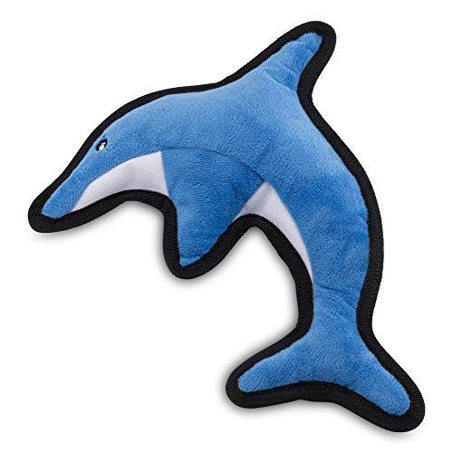 Beco Pets David der Delphin Interaktives Hundespielzeug mit Quietschelement, Medium, blau