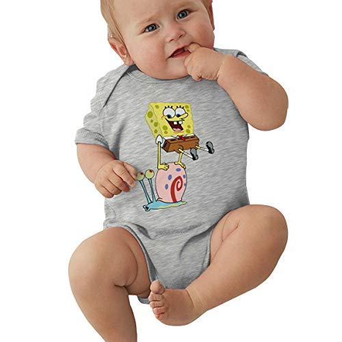 Wokeyia Spongebob-and-Gary Soft Romper Short Sleeve T Shirt for Infant Onesies Gray 18M