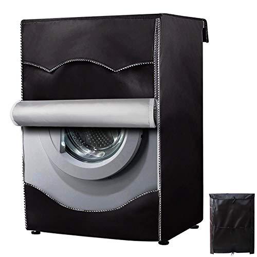 Cubierta para lavadora, Washer/Secadora para máquina de carga frontal, impermeable, a prueba de polvo, más gruesa con borde enrollable W27 D33 H39 inches Negro WMC-GT-3
