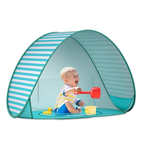 SAEYON Tente Anti UV UPF 50+ Bébé Plage, Enfant Pop Up Tente avec Mini Piscine et Auvent, Abris de Plage Ventilée Tente Enfant Interieur Exterieur Portable Piscine Séparée, Rayures Vertes