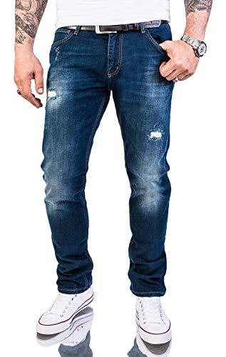 Rock Creek Herren Jeans Hose Slim Fit Stretch Jeans Herrenjeans Herrenhose Denim Stonewashed Dunkelblau Raw Destroyed RC-2145 Darkoceanblue W34 L30