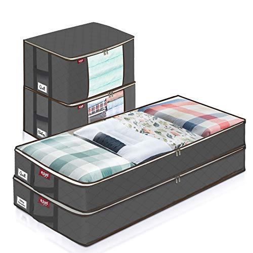 JOYXEON Groß Aufbewahrungstasche, 4 Stück Faltbar Kleideraufbewahrung mit Verstärktem Griff, Unterbettkommode für Bettdecken, Decken, Kleidung (Grau, 100 x 45 x 15cm & 60 x 30 x 45cm)