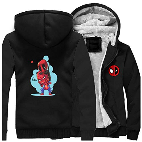 GuiSoHnh Herren Sweatjacke Hoodie 3D Drucken Deadpool Anime Cosplay Warme Winterjacke Kapuzenjacke mit Reißverschluss und Fleece-Innenseite XXL