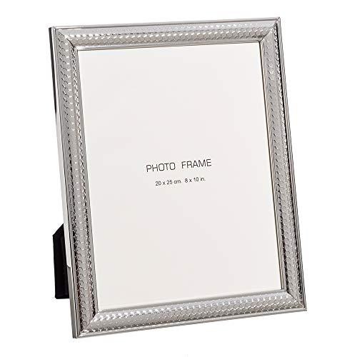 Portafotos Relieve Panal Plata de Metal y Cristal para Foto de 20x25...
