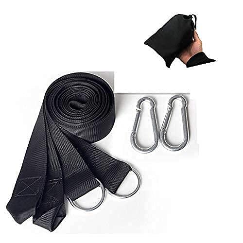 Cuerda de Correa de Hamaca de Carga de 200 kg al Aire Libre con Gancho de Metal en S o mosquetón Cinturón Colgante de Hamaca Cuerda de unión de 3 m con Bolsa de Transporte