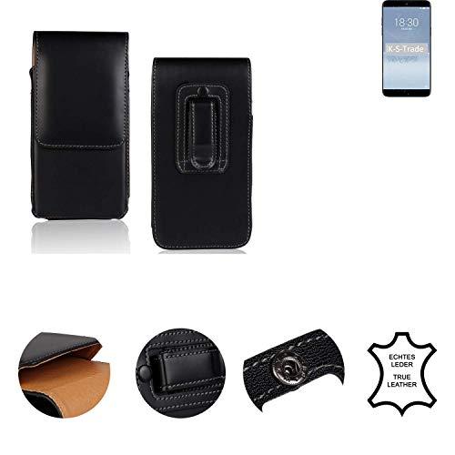 K-S-Trade® Holster Gürtel Tasche Für Meizu 15 Plus Handy Hülle Leder Schwarz, 1x