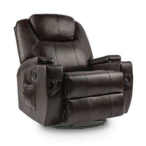 Lauraland Recliner Chair, PU Leather Massage Recliner Ergonomic Lounge Heated 360 Degree Swivel Recliner Sofa for Living & Gaming Room, Headrest Adjustable Brown