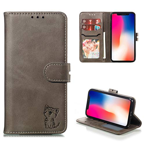 Tom's Village Lovely Cute Cat Wallet Case for iPhone Xs/X Premium PU Leather Magnetic Flip Cover Shockproof Flexible Soft TPU Shell Ultra Slim Protective Bumper ID/Credit Card Slots Kickstand Gray