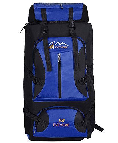 90L Herren Damen Wanderrucksack - Wasserdicht Mode lässig Trekkingrucksack Camping Rucksack Reiserucksack, Blau, 90L