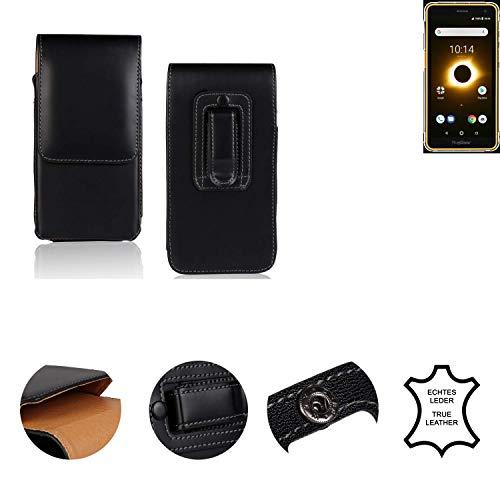 K-S-Trade® Holster Gürtel Tasche Für Ruggear RG650 Handy Hülle Leder Schwarz, 1x