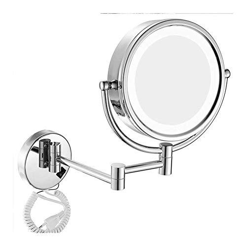 GAOTTINGSD Espejo Maquillaje Espejos De Maquillaje 10X De Montaje En Pared 2-Cara De Aumento Táctil De Atenuación De Luz LED Espejo De Baño Espejo De Baño 360 ° Giro