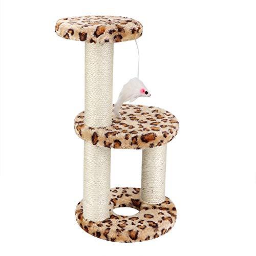 Rehomy Katzen-Klettergerüst, dreilagig, Kratzbaum, Spielzeug, runder Tellerrahmen