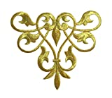 Metallic Gold - Line Flow - Abstract Swirl - Fleur de lis Design - Iron on Applique/Embroidered Patch