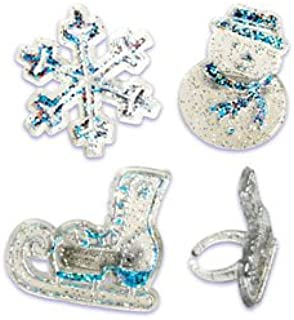 Oasis Supply 24 Piece Frozen Snowflake/Ice Skating and Snowman Cup Cake Rings