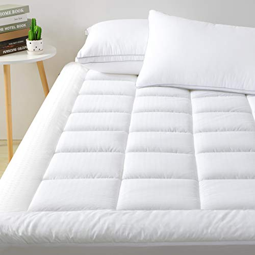 "viewstar Mattress Pad King Cooling Cotton Mattress Topper Cover,Extra Thick Pillow Top Quilted Fitted Bed Cover with Snow Down Alternative Fill,6-21"" Deep Pocket for King Size Bed Soft and Breathable"