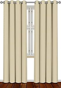 Utopia Bedding [2 Paneles Cortina Opaca - Cortinas Aislantes Térmicas - con Ojales - (140 x 260 cm, Beige)