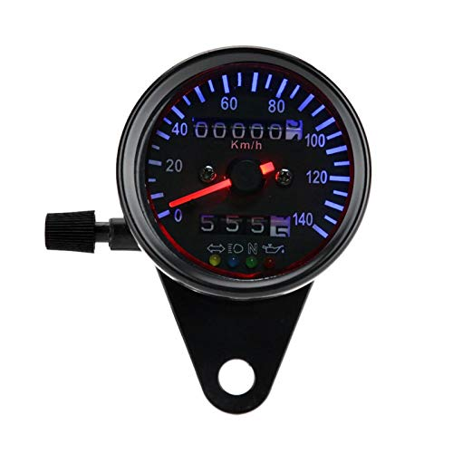 Akozon Kit calibro tachimetro doppio contachilometri moto retroilluminazione a LED 12 V per Cafe Racer