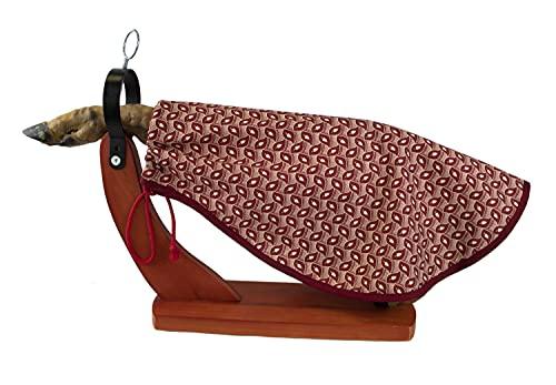 Cubre Jamón Estampado color Granate - Tela de Algodón con forma redondeada - Funda para Jamón o Funda para Paletilla. (Cubre-j-rd-bell)