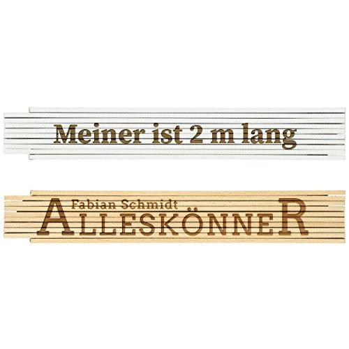 Zollstock Metermaß Maß 2m Lineal Handwerker Baustelle Holz Weiß Natur Geschenk mit individueller Gravur Wunschtext 2m (weiß)