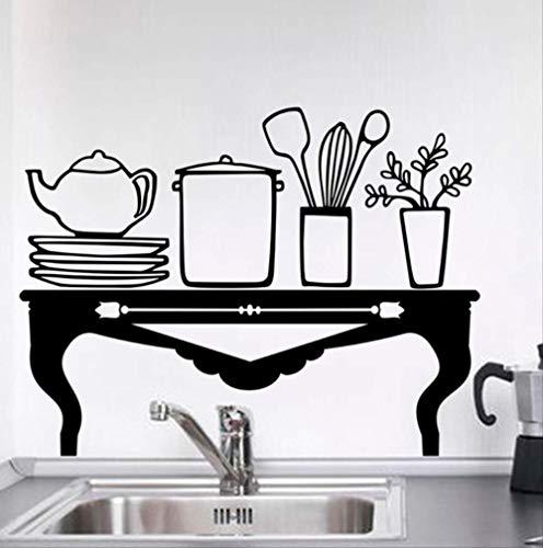 Muurstickers, creatief, tafel, theepot, gereedschap, keuken, zwart, decoratie thuis, accessoires, vinyl, wandstickers, knutselen, wandposters.