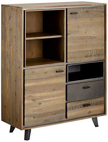 Ibbe Design Highboard Vitine Braun Lackiert Massiv Akazie Holz Vitrineschrank Malaga mit 2 Schubladen, 2 Türen und Regale, L100x B40x H130 cm