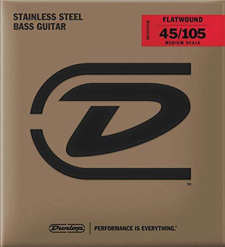 Dunlop Bass snaren in roestvrij staal platte achterkant Medium Scale 45-105