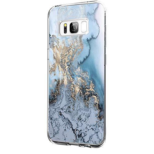 Riyeri Hülle Compatible with Samsung Galaxy S8 Hülle Klar Slim TPU Silikon Bumper Handyhülle für Samsung S8 Plus - Marmor & Blume (S8, 29)