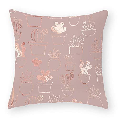 NTDRB Rose Gold Geometric Print Decorative Cushions Pillowcase Polyester Cushion Cover Throw Pillow Sofa Decoration Pillowcover,2BZ,40864,020