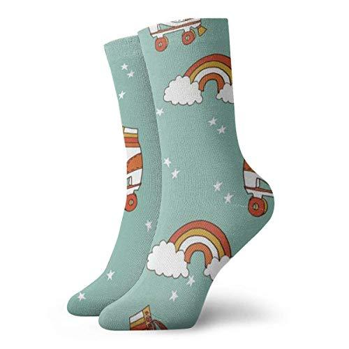 Unisex Socken mit Rollerskate Retro Rainbow Atmungsaktiv Fantasy Knöchel Laufen Wandern Socken Wochenende Sport Athletic Socken Kurze Crew Socken 30 cm