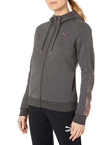 PUMA Women's Holiday Pack Full Zip Hoodie, Dark Gray Heather Fleece, S