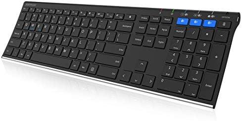 Arteck Universal Bluetooth Keyboard Multi Device Stainless Steel Full Size Wireless Keyboard product image