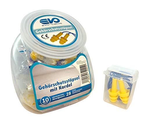 Gehörschutzstöpsel Silikon von evo-cative - 10 Paar - wiederverwendbare Ohrstöpsel mit Kordel im Spender + BOX