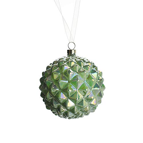 Homeford Studded Pattern Glass Ball Christmas Ornament, 4-Inch