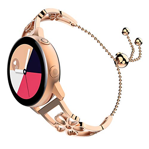 TiMOVO Uhr Armband Kompatibel mit Galaxy Watch Active/Active 2/Galaxy Watch 42/Gear S2 Classic, Premium Ersatzband Uhrenarmband aus Edelstahl Metallband Strap mit Pflaume Blüte - Rose Gold