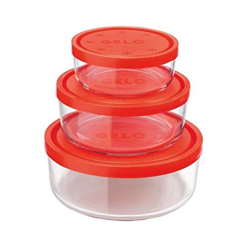 Juego de 3 recipientes para alimentos de cristal redondos para ...