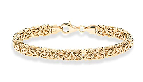 MiaBella 18K Gold Over Sterling Silver Italian Byzantine Bracelet for Women 6.5, 7, 7.5, 8 Inch 925 Handmade in Italy (6.5 Inches (5.5'-5.75' wrist size))