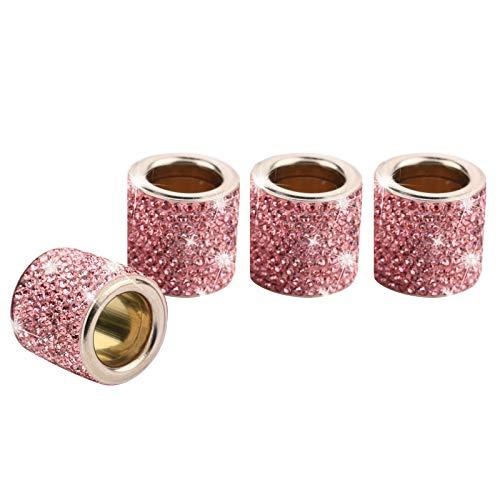 4 Piezas Reposacabezas Coche Collares Anillos Crystal Bling, Accesorios Para Coche Interior Mujer Hombres Brillantina, Decoración De Cristal De Diamante, Regalos Personalizados (Rosa Claro)