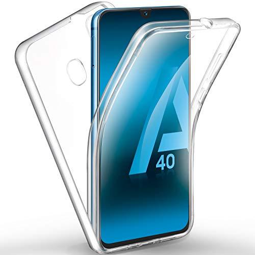 AROYI Funda Compatible con Samsung Galaxy A40, Ultra Slim Doble Cara Carcasa Protector Transparente TPU Silicona y PC Dura Resistente Anti-Arañazos Protectora Case Cover