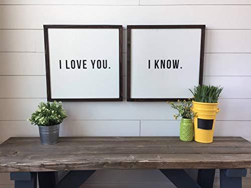 Wanddekoration Star Wars Zitat I Love You. I Know. Schilder, Wanddekoration, modernes Landhaus-Design, gerahmt, Holzschild, personalisiertes Geschenk