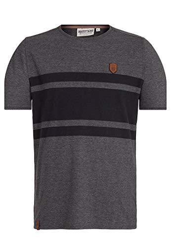Naketano Male T-Shirt Haschisch in der Blutbahn Anthracite Mel-Black, S
