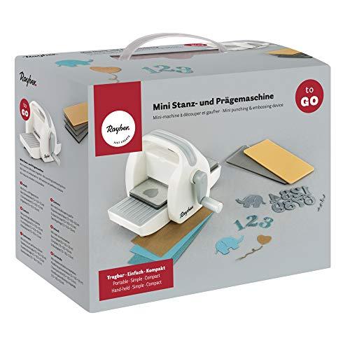 Rayher 60999000 Mini troqueladora TO GO, ligera, compacta y manejable, Para corte y relieve, adecuada para llevar de vacaciones