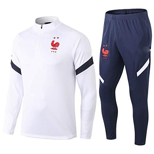 PARTAS Langarm Frankreich Tracksuits Football Wear Verein Uniform Trainingsanzug Wettbewerb Anzug Frankreich Herren 2 Stück Sets (Size : L)