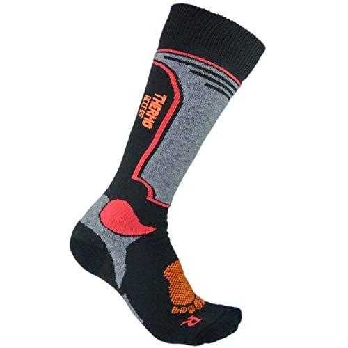eXPANSIVE Chaussettes de ski longues pour enfants - Pour garçons et filles - Anti-bactériennes - Thermolite - Noir, rouge et gris - Taille 32-34